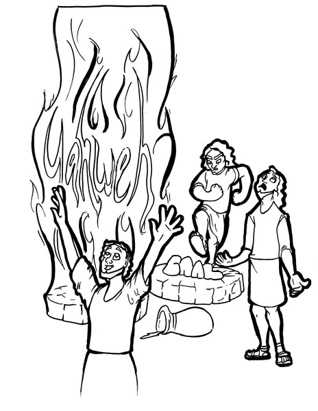 Elijah and Prophets of Baal Coloring Page