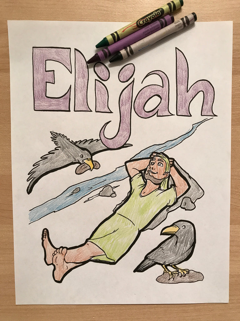 Elijah and Ravens Coloring Page