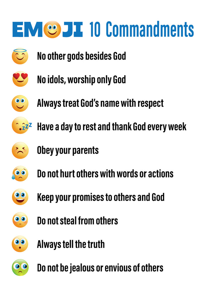 photograph relating to Ten Commandments for Kids Printable named Emojis 10 Commandments Printable