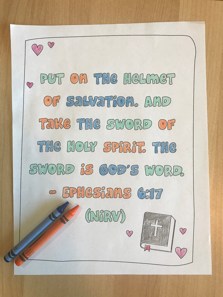 Ephesians 6:17 Bible Verse Coloring Page