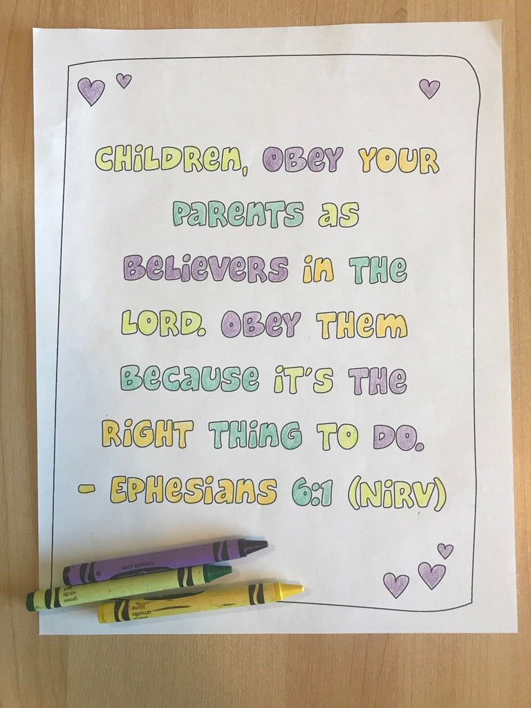 Ephesians 6:1 Bible Verse Coloring Page