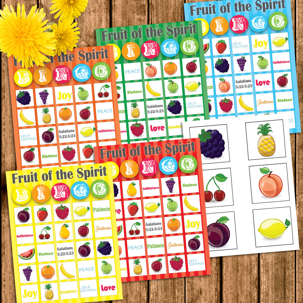 photo relating to Bible Bingo Printable identified as Fruit of the Spirit Bingo Match