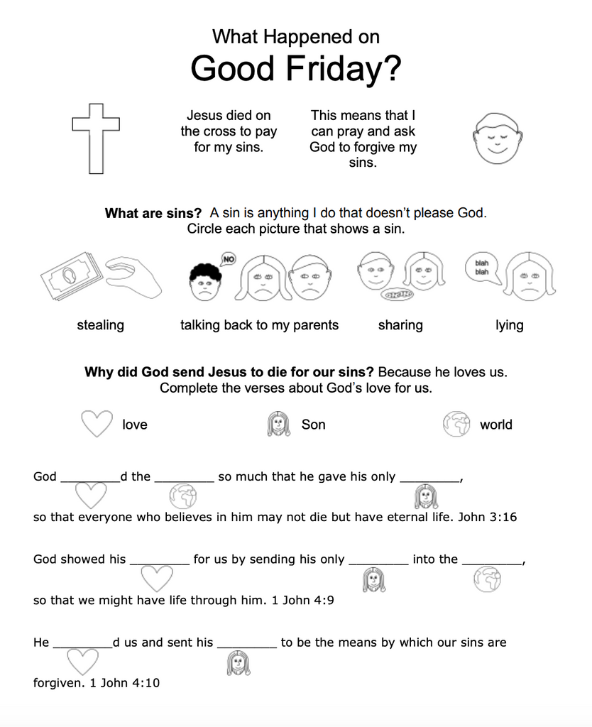 Good Friday and Easter Worksheets for Kids – Children's Ministry Deals