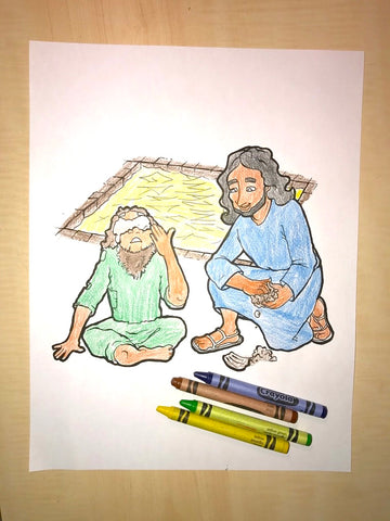 Jesus Heals The Blind Man Coloring Page