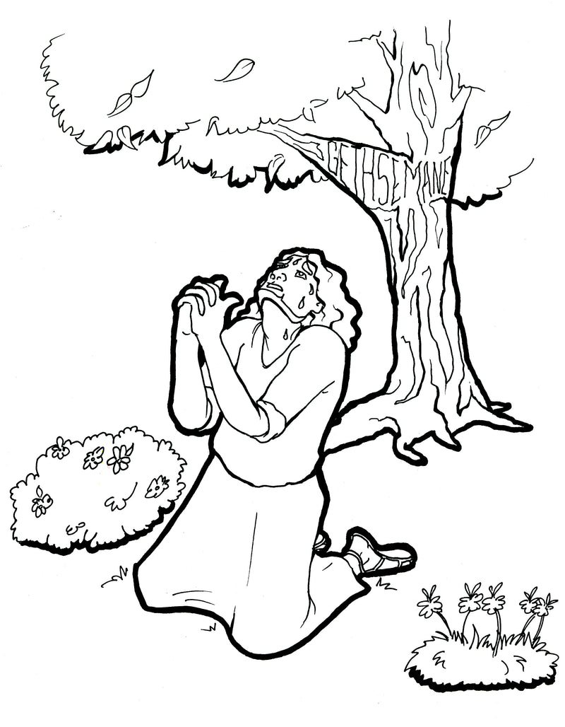 Jesus Prays In The Garden Coloring Page