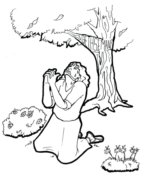 Jesus Prays In The Garden Coloring Page Children 39 s
