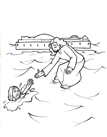 Jesus Walks On Water Coloring Page – Children\'s Ministry Deals