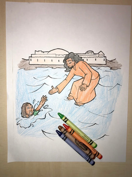 Jesus Walks On Water Coloring Page - Children's Ministry Deals