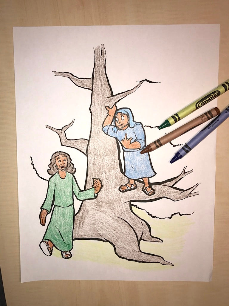 Zacchaeus and Jesus Coloring Page