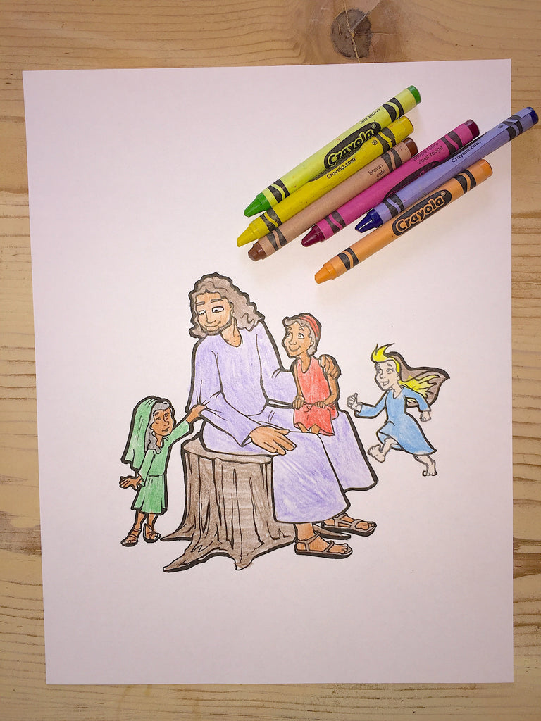 FREE Jesus and the Children Coloring Page