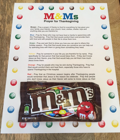 M&Ms Thanksgiving Prayer