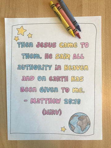 Matthew 28:18 Bible Verse Coloring Page