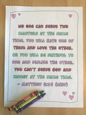 Matthew 6:24 Bible Verse Coloring Page