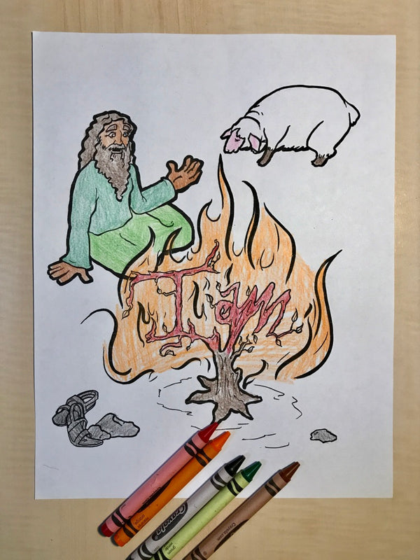 Moses and the burning bush coloring page   Printable Moses ...