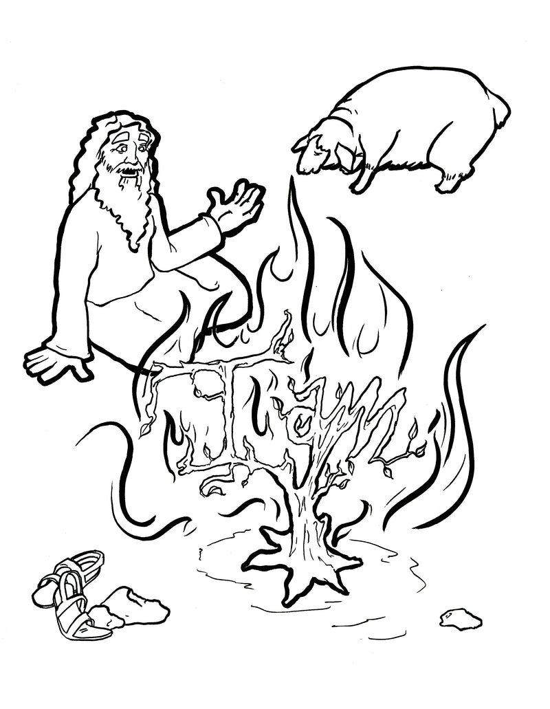 Fantastic Moses And The Burning Bush Coloring Pages Images - Entry ...