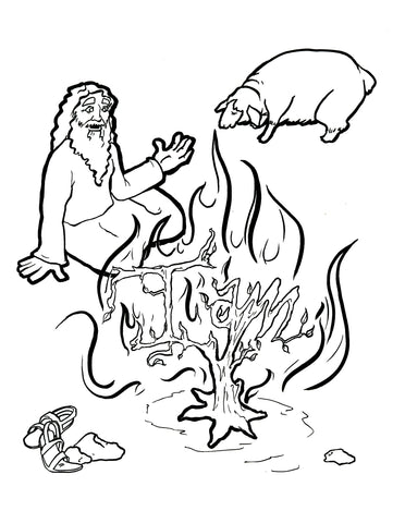 ... Moses And The Burning Bush Coloring Page