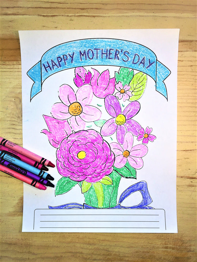 FREE Mother's Day Flowers Coloring Page