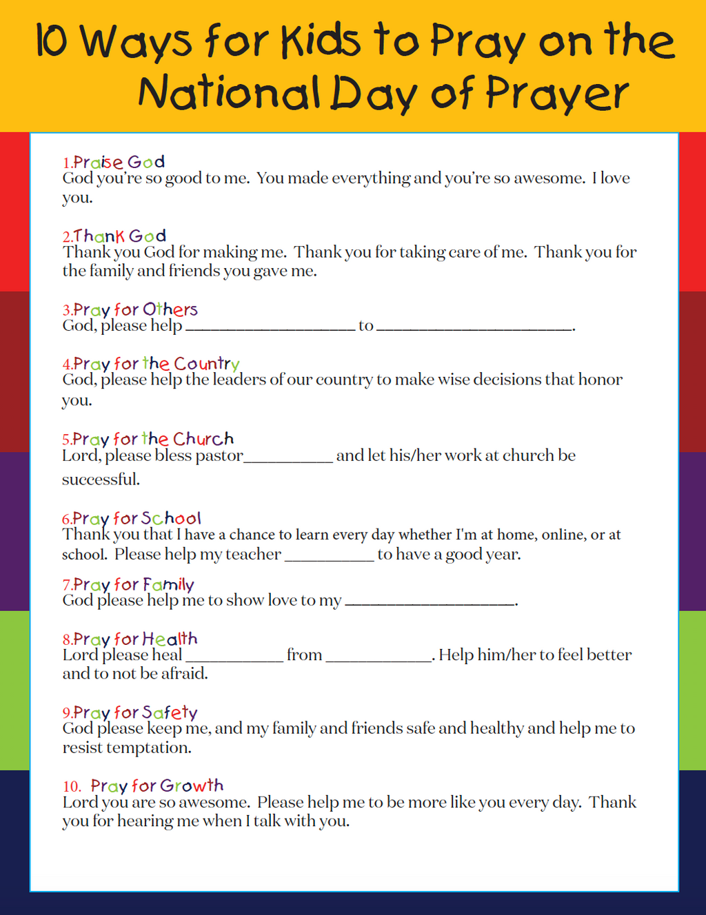 Free Printable National Day Of Prayer Guide For Kids