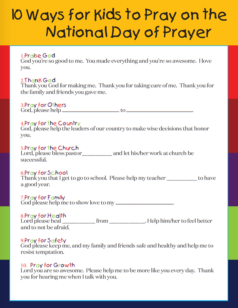 picture regarding Printable Prayers identified as Totally free Printable Nationwide Working day of Prayer Marketing consultant for Youngsters