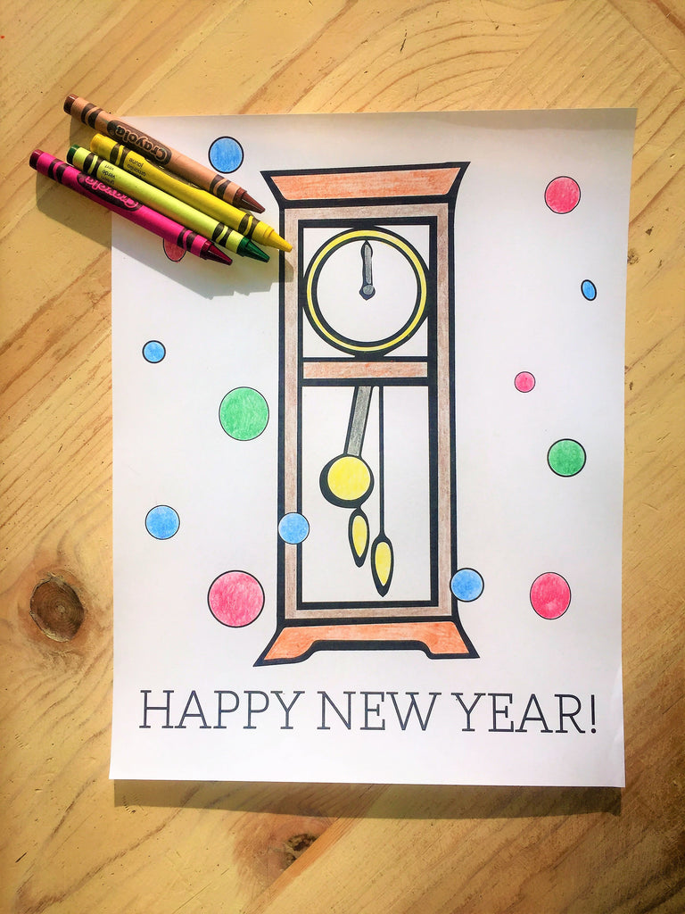 FREE New Year's Clock Coloring Page