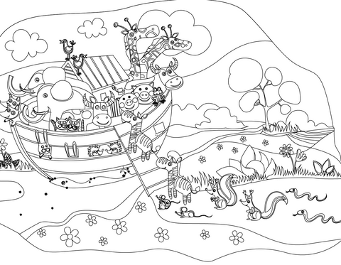 Free coloring pages of noahas ark ~ FREE Noah's Ark Coloring Page – Children's Ministry Deals