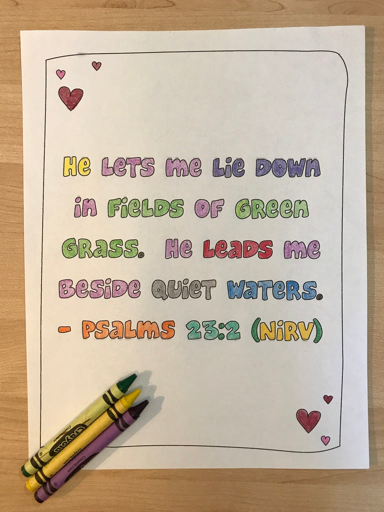 Psalms 23:2 Bible Verse Coloring Page