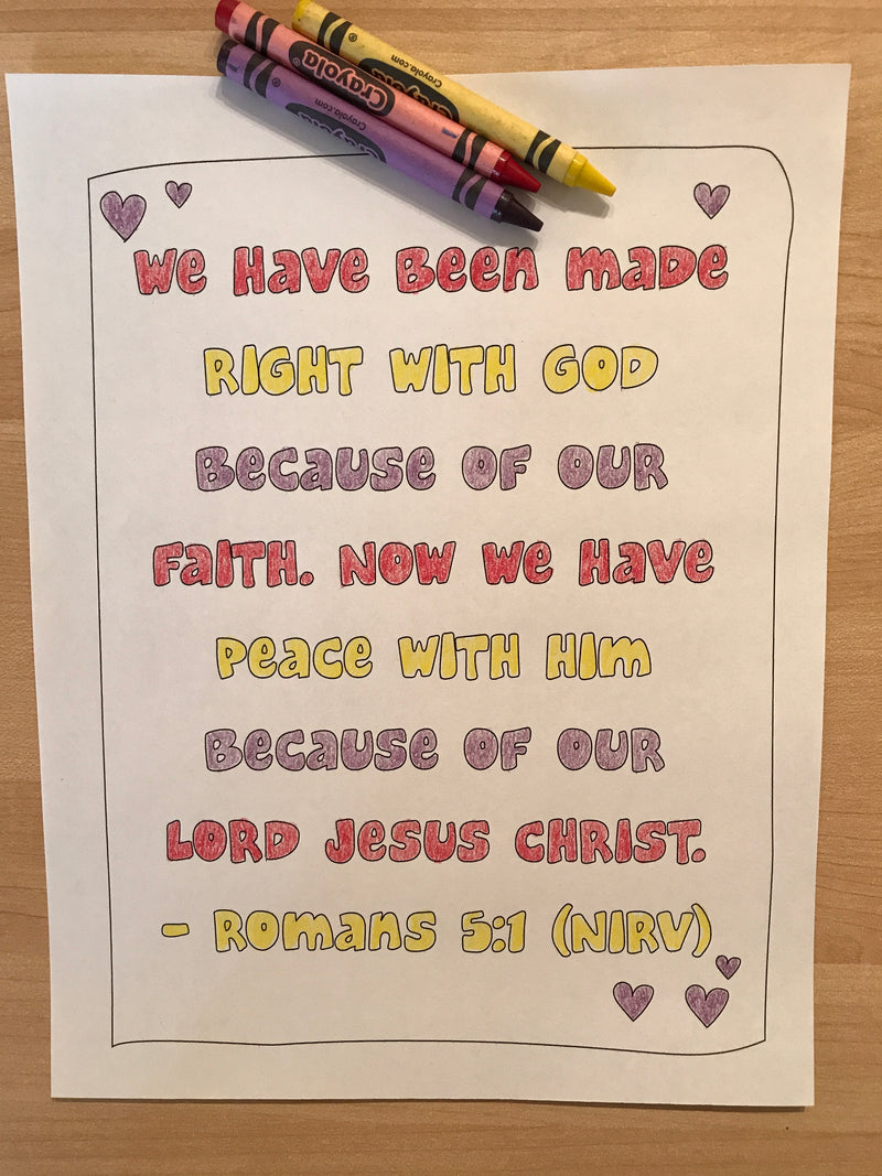 Romans 5:1 Bible Verse Coloring Page