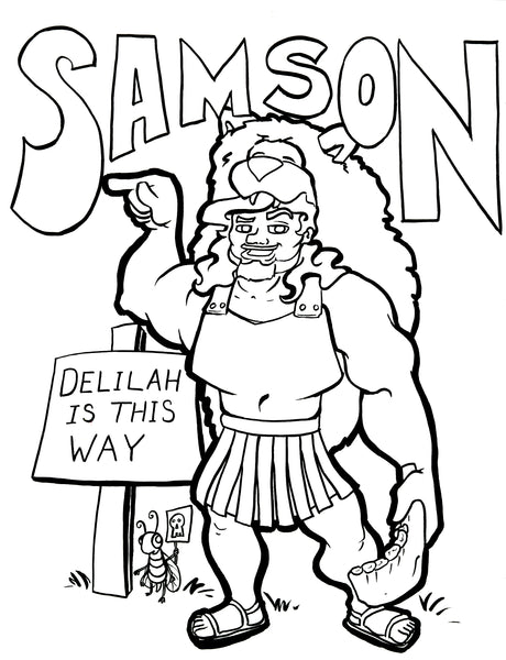 Samson copywork and coloring page – Bible Pathway Adventures | 600x460