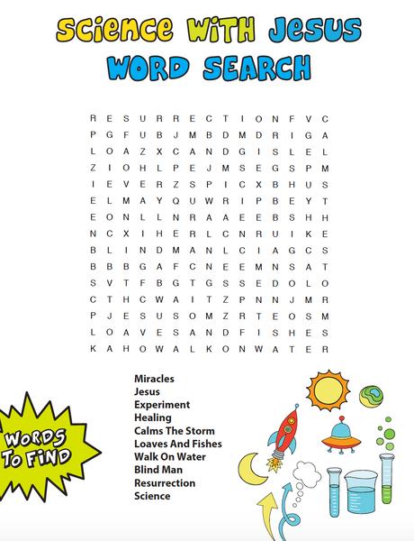 Science With Jesus Bible Word Search Children S Ministry