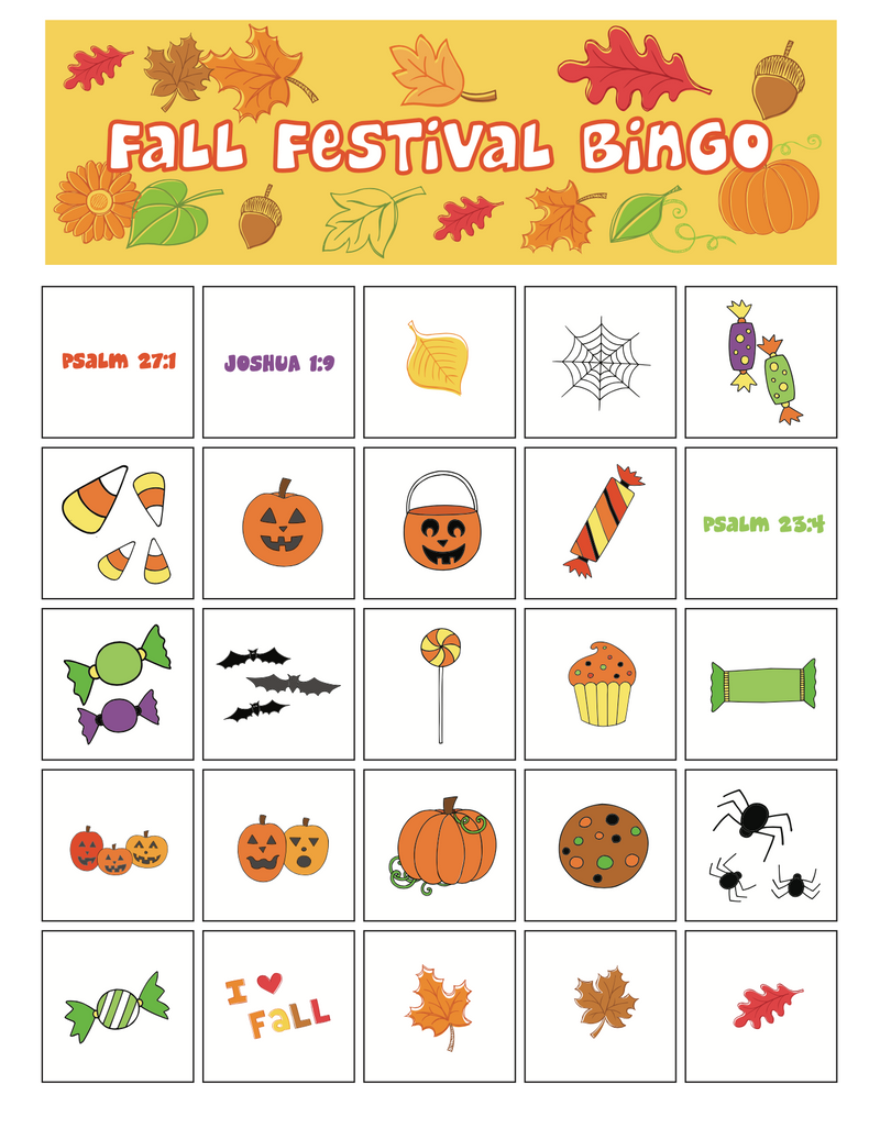 Fall Festival Bible Bingo Game