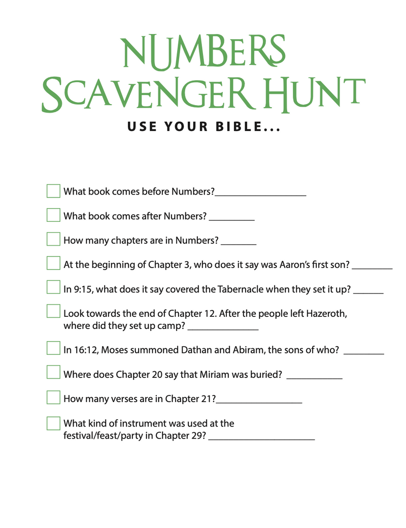 FREE Numbers Bible Scavenger Hunt