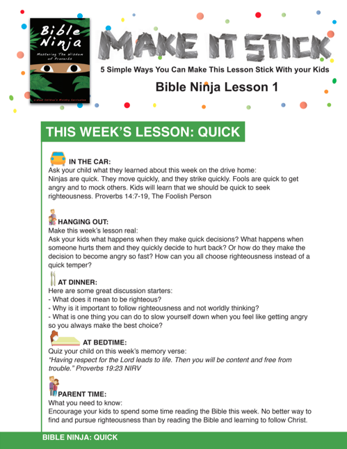 Bible Ninja 4-Week Children's Ministry Curriculum