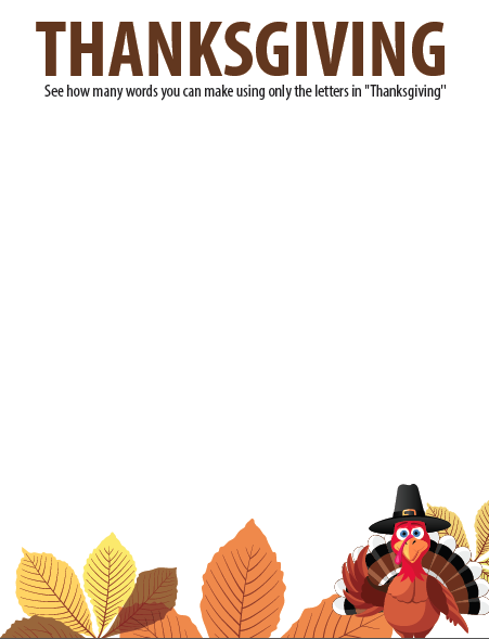 FREE Thanksgiving Jumble