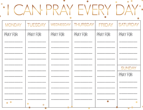 New Year's Weekly Prayer Calendar