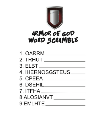 Armor of God Word Scramble