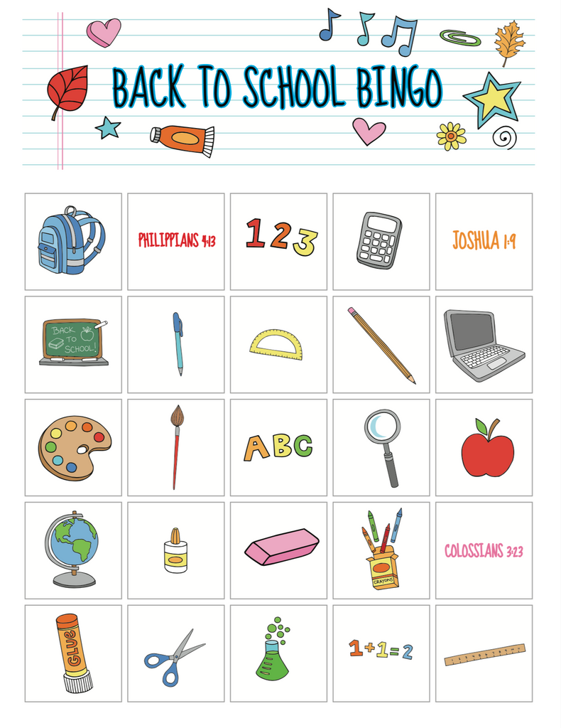 Back to School Bible Bingo