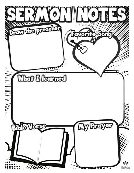 Sermon Notes Coloring Page Children39s Ministry Deals