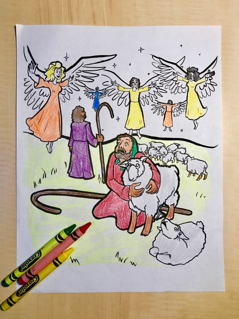 Shepherds and Angels Coloring Page