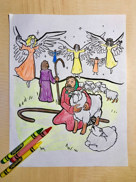 Christmas Shepherds Coloring Pages - GetColoringPages.com | 600x450