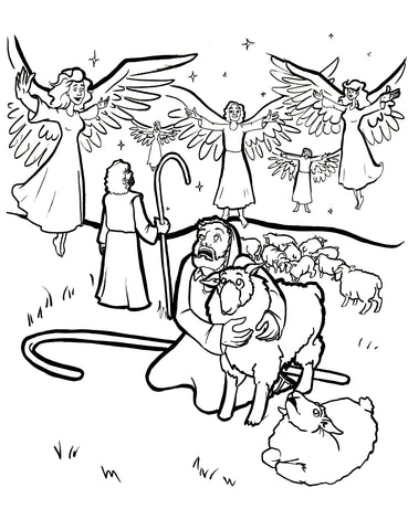 shepherds and angels coloring page shepherds and angels coloring page - Shepherds Coloring Page