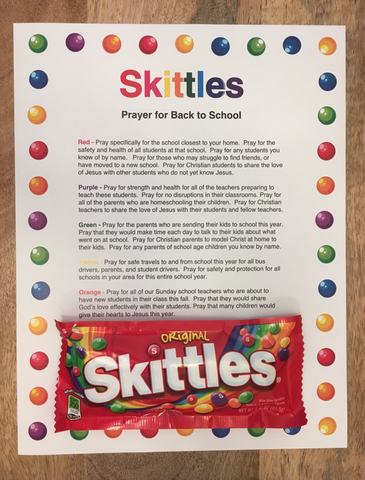 Skittles Back to School Prayer
