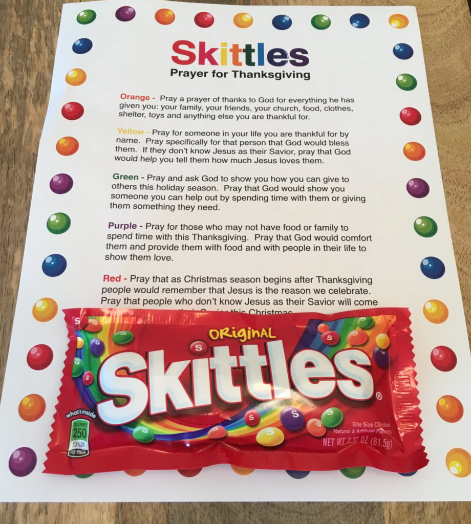 Skittles Thanksgiving Prayer