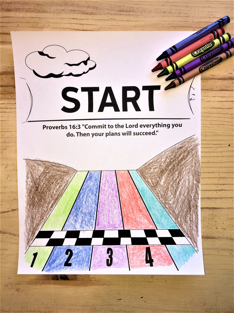 FREE Starting Line Coloring Page