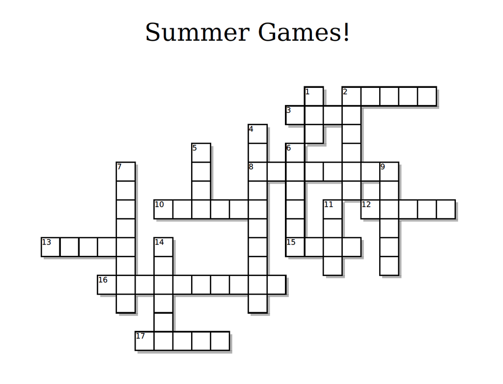 FREE Olympics Crossword Puzzle