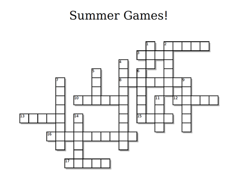 Summer Olympics Crossword