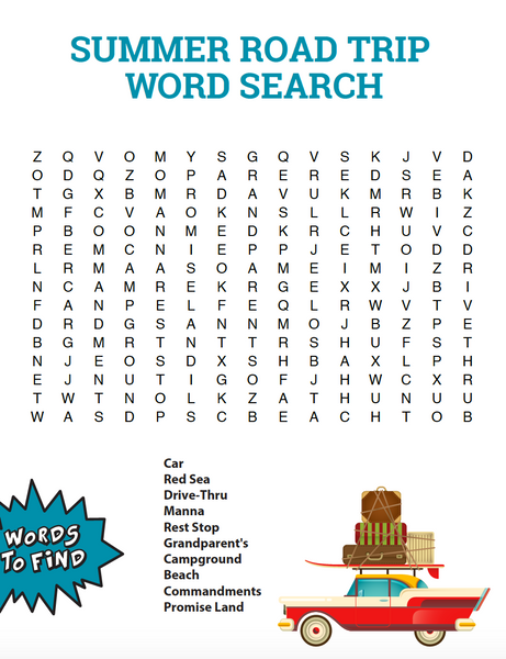 Summer Road Trip Bible Word Search - Children's Ministry Deals
