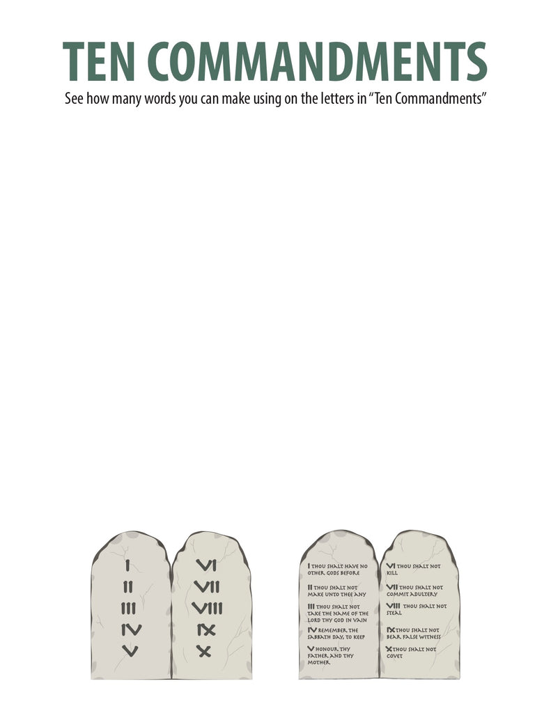 Ten Commandments Word Jumble