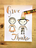 FREE Thanksgiving Coloring Page- Pilgrims
