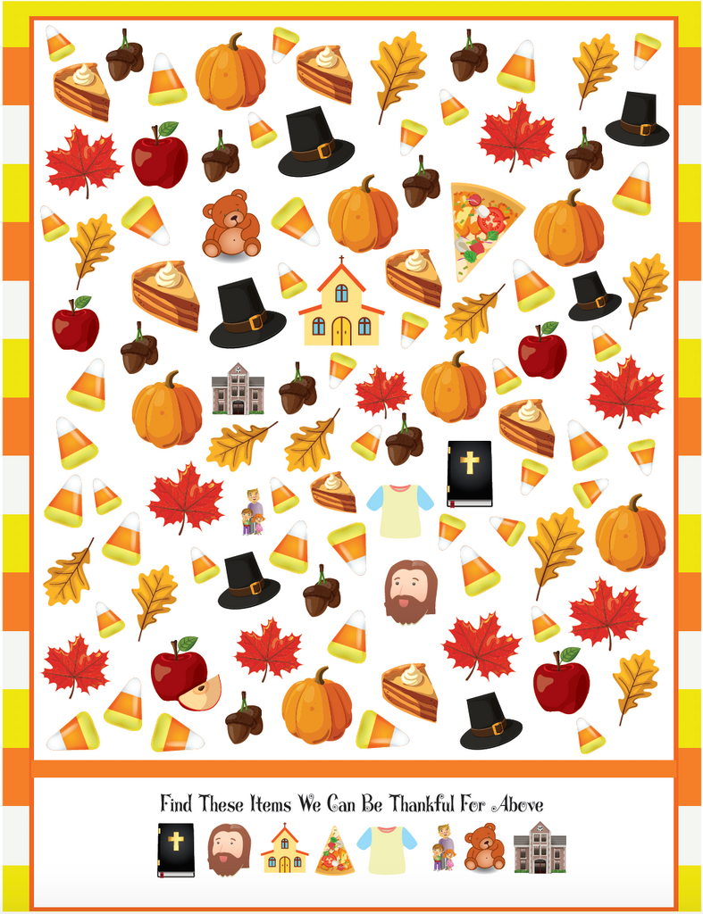 Thanksgiving Seek And Find Worksheet Children S Ministry