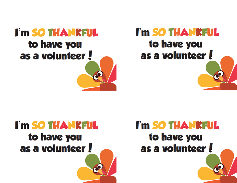 Thanksgiving Thank You Notes for Volunteers